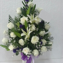 Funeral spray/arrangement with ribbon