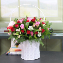 Handle basket with red pink and white